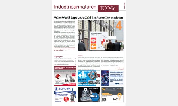 """Neue Zeitung """"Industriearmaturen TODAY"""" erschienen"""