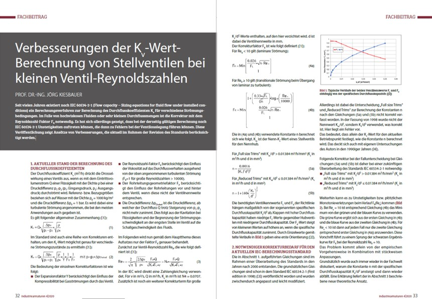 Verbesserungen der Kv-Wert- Berechnung von Stellventilen bei kleinen Ventil-Reynoldszahlen