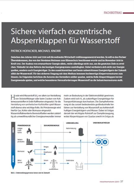 Kostenfreier Fachbericht: Sichere vierfach exzentrische Absperrklappen für Wasserstoff